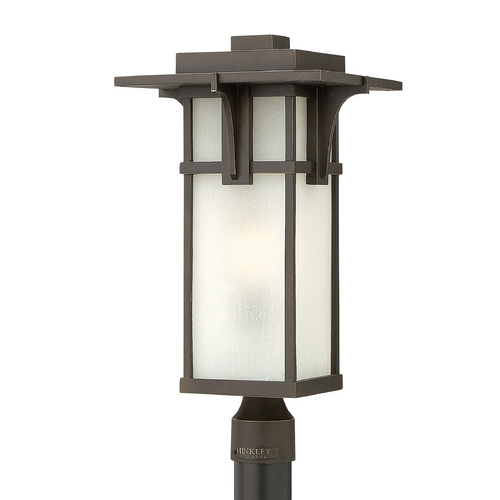 Hinkley Lighting Post Light with White Glass in Oil Rubbed Bronze Finish 2231OZ