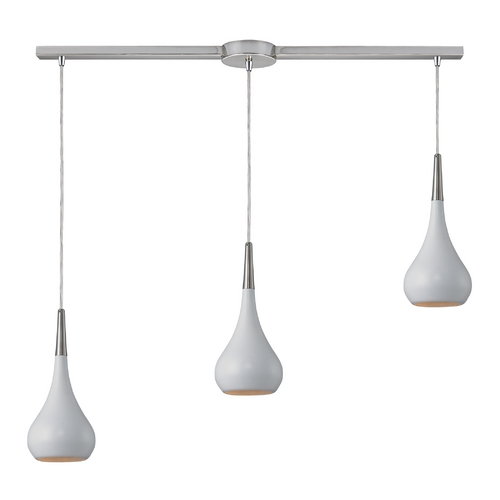 Elk Lighting Modern Multi-Light Pendant Light with White Shades and 3-Lights 31340/3L-WH