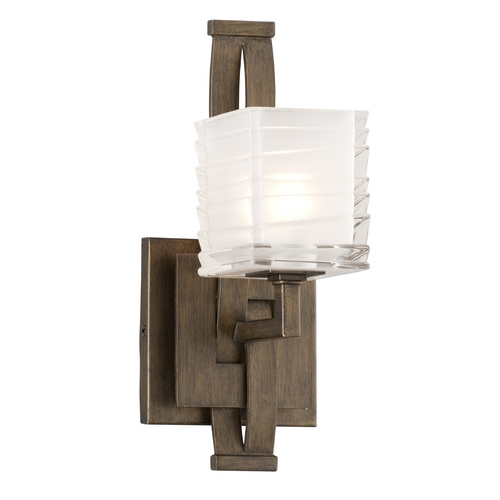 Troy Lighting Sconce Wall Light with White Glass in Danish Bronze Finish B3581