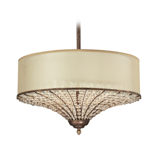 Elk Lighting Drum Pendant Light with Beige / Cream Shades in Spanish Bronze Finish 11701/4