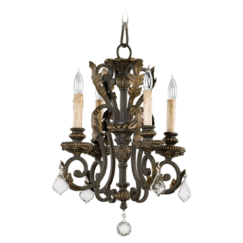 Quorum Lighting Quorum Lighting Rio Salado Toasted Sienna with Mystic Silver Mini-Chandelier 6157-4-44