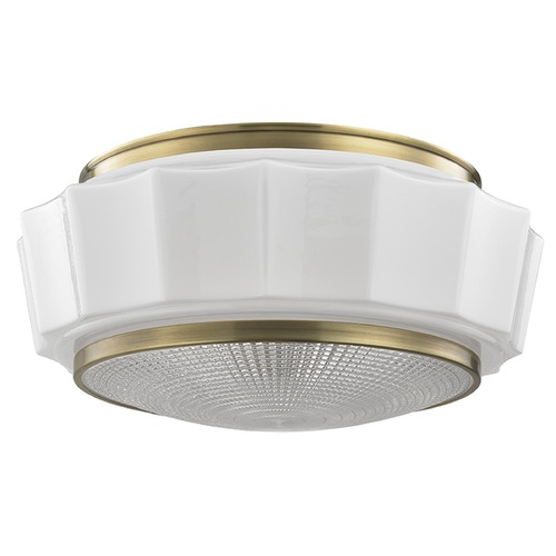 Hudson Valley Lighting Odessa 3 Light Flushmount Light Drum Shade - Aged Brass 3816F-AGB