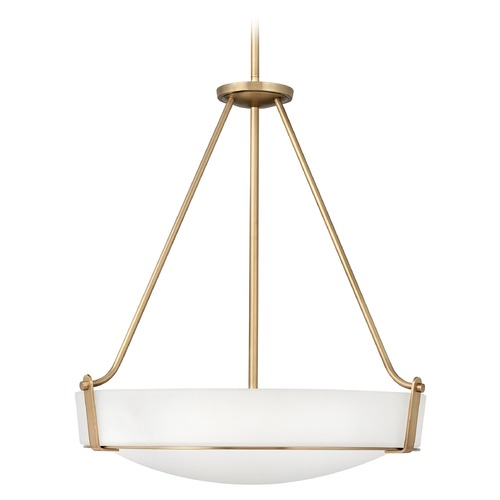 Hinkley Lighting Hinkley Lighting Hathaway Heritage Brass Pendant Light with Bowl / Dome Shade 3224HB