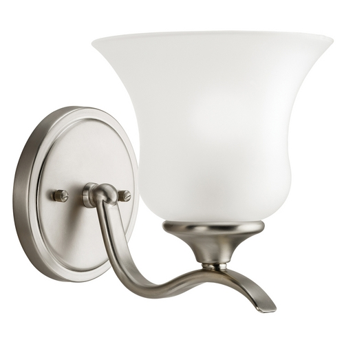 Kichler Lighting Kichler Sconce with White Glass in Brushed Nickel Finish 5284NI