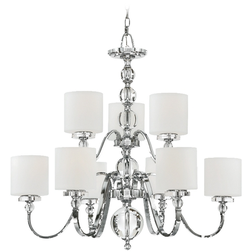 Quoizel Lighting Quoizel Modern 2-Tier 9-Light Chandelier with White Glass in Polished Chrome DW5009C