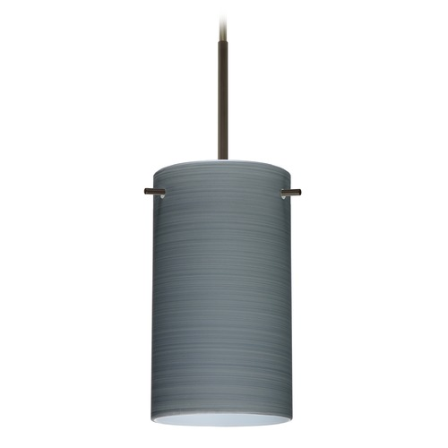 Besa Lighting Besa Lighting Stilo Bronze Mini-Pendant Light with Cylindrical Shade 1BT-4404TN-BR