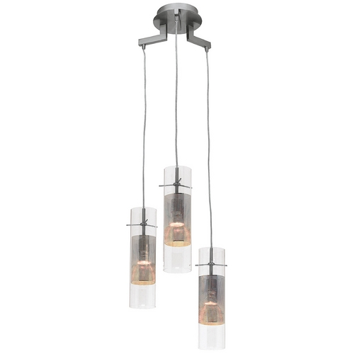 Access Lighting Modern Multi-Light Pendant Light with Clear Glass and 3-Lights 50526-BS/CLM