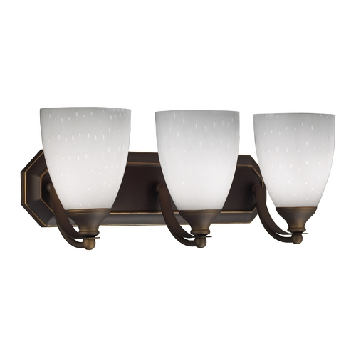 Elk Lighting Bathroom Light with Art Glass in Aged Bronze Finish 570-3B-WH