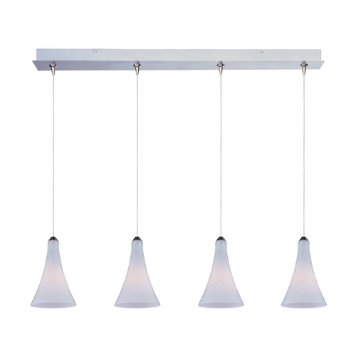 ET2 Lighting Modern Low Voltage Multi-Light Pendant Light with White Glass and 4-Lights E94932-105SN