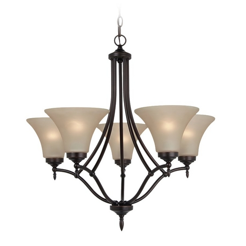 Sea Gull Lighting Chandelier with Beige / Cream Glass in Burnt Sienna Finish 31181-710