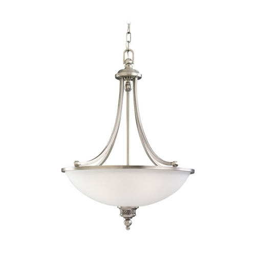 Sea Gull Lighting Pendant Light with White Glass in Antique Brushed Nickel Finish 65351-965