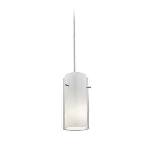 Access Lighting Modern Mini-Pendant Light with White Glass 28033-2C-BS/CLOP