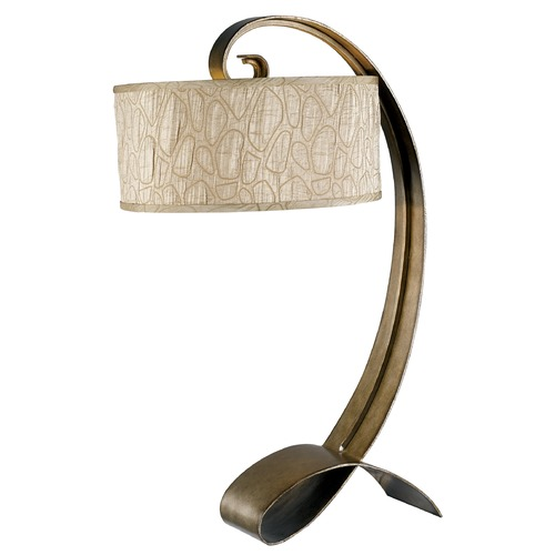 Kenroy Home Lighting Modern Table Lamp with Taupe Shade in Smoked Bronze Finish 20090SMB