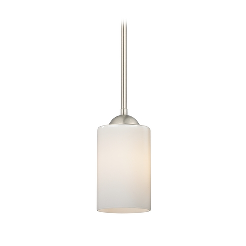 Design Classics Lighting Satin Nickel Mini-Pendant Light with Opal White Cylinder Glass 581-09 GL1024C