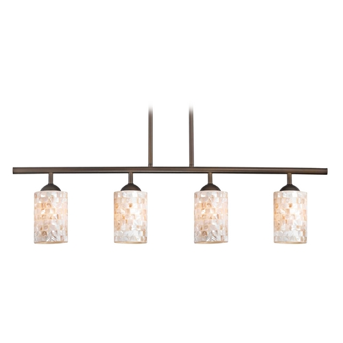 Design Classics Lighting Linear Pendant Light with 4-Lights and Mosaic Glass in Bronze Finish 718-220 GL1026C