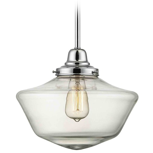 Design Classics Lighting 12-Inch Clear Glass Schoolhouse Pendant Light in Chrome Finish FB4-26 / GA12-CL