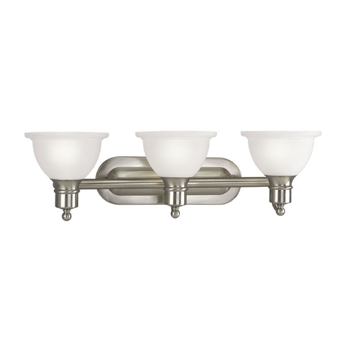Progress Lighting Progress Bathroom Light with White Glass in Brushed Nickel Finish P3163-09