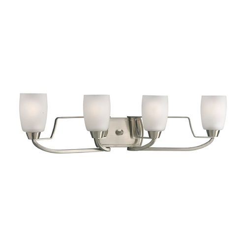 Progress Lighting Progress Bathroom Light with White Glass in Brushed Nickel Finish P2797-09