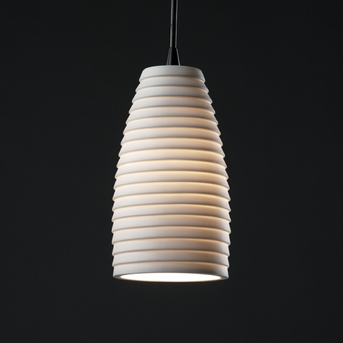 Justice Design Group Justice Design Group Limoges Collection Mini-Pendant Light POR-8816-28-SAWT-MBLK