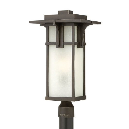 Hinkley Lighting Post Light with White Glass in Oil Rubbed Bronze Finish 2231OZ-GU24