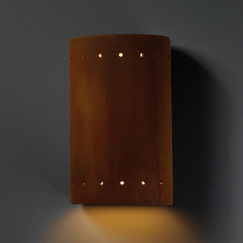 Justice Design Group Sconce Wall Light in Real Rust Finish CER-5990-RRST
