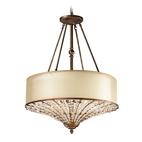 Elk Lighting Drum Pendant Light with Beige / Cream Shades in Spanish Bronze Finish 11702/4