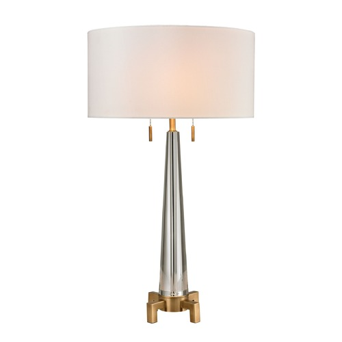 Dimond Lighting Dimond Lighting Clear, Aged Brass Table Lamp with Drum Shade D2682