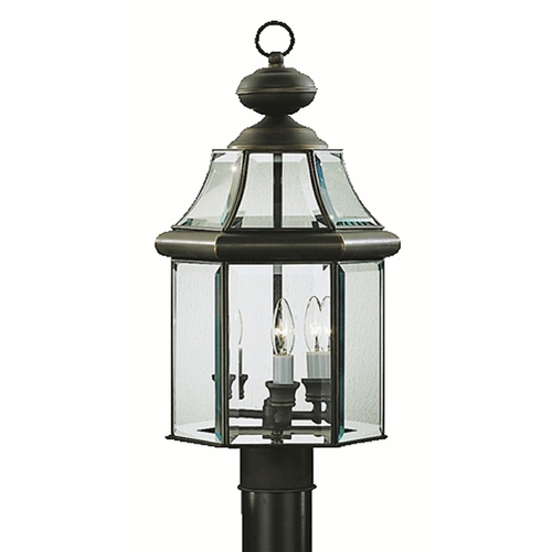 Kichner Lighting: Kichler Post Light With White Glass In Olde Bronze Finish