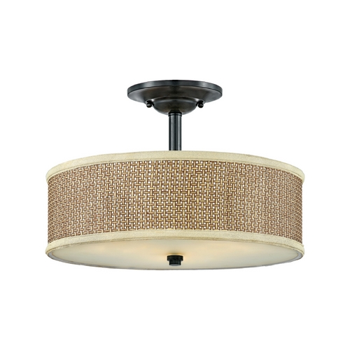 Quoizel Lighting Semi-Flushmount Light with Brown Tones Wicker Shade in Mystic Black ZE1717K