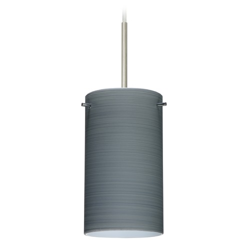 Besa Lighting Besa Lighting Stilo Satin Nickel Mini-Pendant Light with Cylindrical Shade 1BT-4404TN-SN