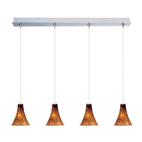 ET2 Lighting Modern Low Voltage Multi-Light Pendant Light with Amber Glass and 4-Lights E94933-104SN