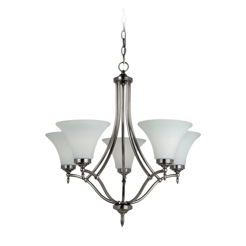 Sea Gull Lighting Chandelier with White Glass in Antique Brushed Nickel Finish 31181-965
