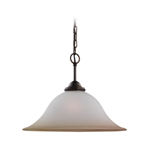 Sea Gull Lighting Pendant Light with Beige / Cream Glass in Russet Bronze Finish 65360-829