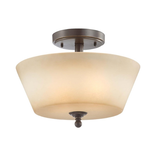 Nuvo Lighting Modern Semi-Flushmount Light with Beige / Cream Glass in Vintage Bronze Finish 60/4171