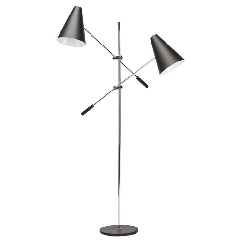Nuevo Lighting Nuevo Lighting Tivat Black and Chrome Floor Lamp with Conical Shade HGRA390