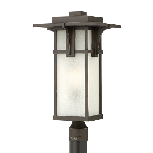 Hinkley Lighting Etched Seeded Glass LED Post Light Oil Rubbed Bronze Hinkley Lighting 2231OZ-LED