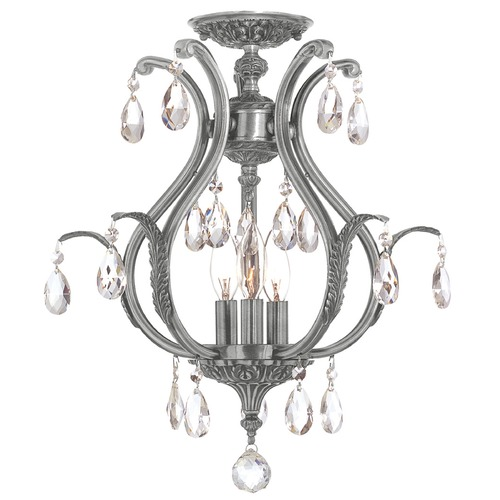 Crystorama Lighting Crystorama Lighting Dawson Pewter Semi-Flushmount Light 5560-PW-CL-SAQ_CEILING