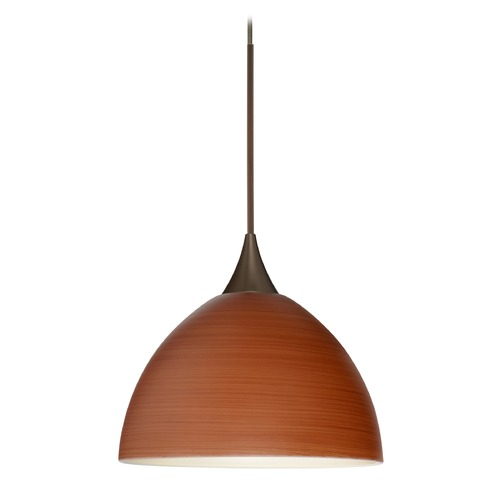 Besa Lighting Besa Lighting Brella Bronze Mini-Pendant Light with Bowl / Dome Shade 1XT-4679CH-BR