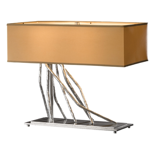 Hubbardton Forge Lighting Hubbardton Forge Lighting Brindille Vintage Platinum Table Lamp with Rectangle Shade 277763-82-646