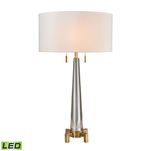 Dimond Lighting Dimond Lighting Clear, Aged Brass LED Table Lamp with Drum Shade D2682-LED