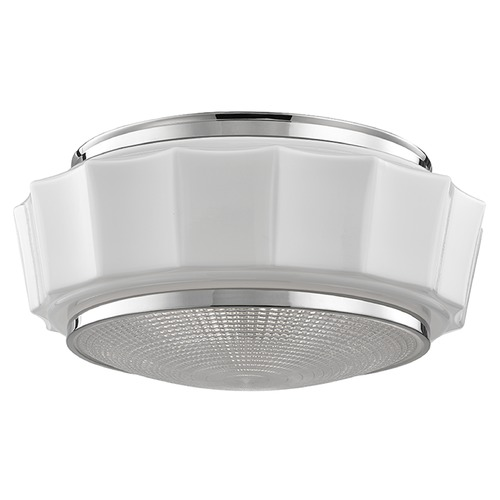 Hudson Valley Lighting Odessa 3 Light Flushmount Light Drum Shade - Polished Nickel 3816F-PN