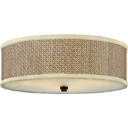 Quoizel Lighting Modern Flushmount Light with Brown Tones Wicker Shade in Mystic Black ZE1617K