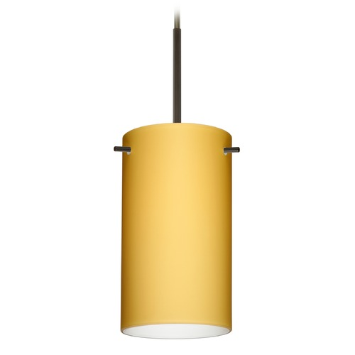 Besa Lighting Besa Lighting Stilo Bronze Mini-Pendant Light with Cylindrical Shade 1BT-4404VM-BR