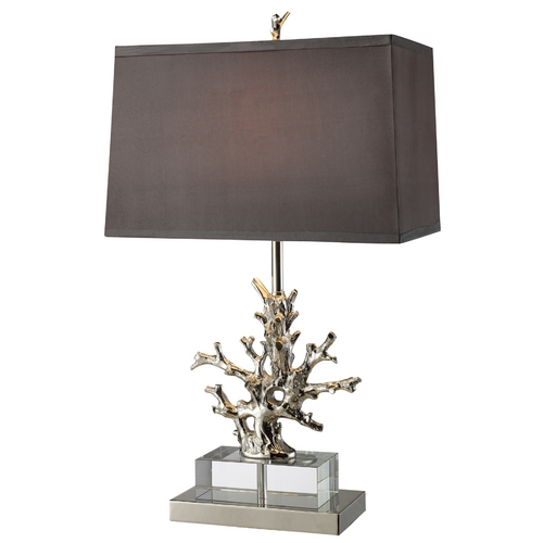 Elk Lighting Modern Table Lamp with Grey Shade in Polished Nickel Finish D1867