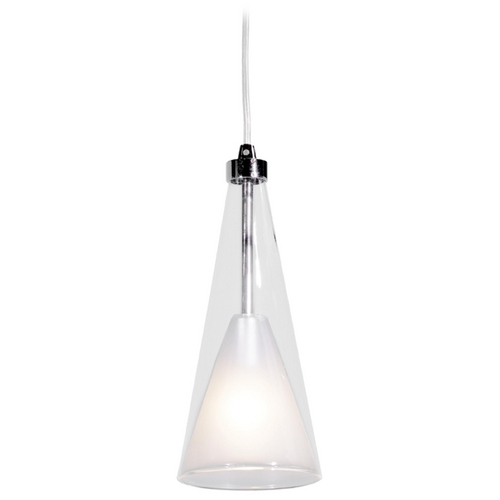 Access Lighting Modern Mini-Pendant Light with White Glass 50543-CH/CLOP