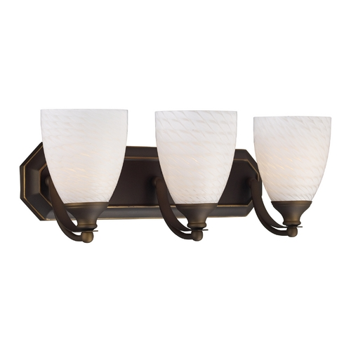 Elk Lighting Bathroom Light with Art Glass in Aged Bronze Finish 570-3B-WS
