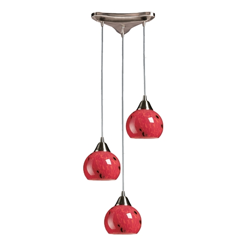 Elk Lighting Multi-Light Pendant Light with Red Glass and 3-Lights 101-3FR