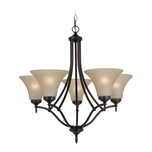 Sea Gull Lighting Chandelier with Beige / Cream Glass in Burnt Sienna Finish 31181BLE-710