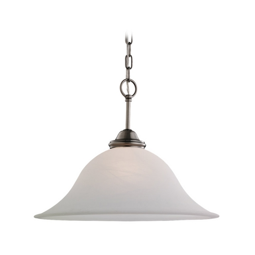 Sea Gull Lighting Pendant Light with White Glass in Antique Brushed Nickel Finish 65360-965