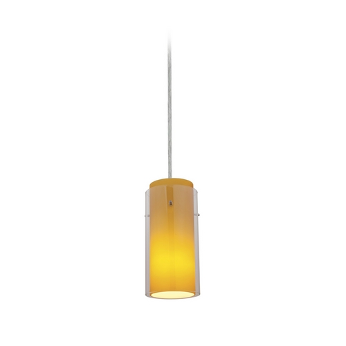 Access Lighting Modern Mini-Pendant Light with Amber Glass 28033-2C-BS/CLAM